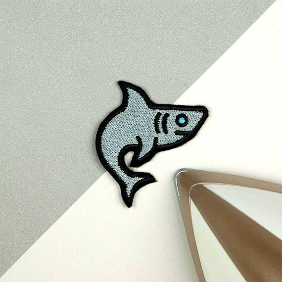 Shark iron on patch / shark sew on patch / embroidered shark
