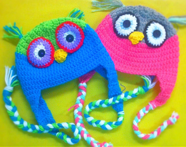 Crochet every day! Kids #lovehandmade #knittedgirl #coolhats Gorros lechuzas