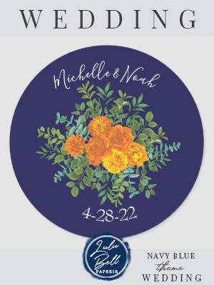 Orange & Navy Blue Peony & Rose Floral Wedding Classic Round Sticker | Zazzle.com #bluepeonies