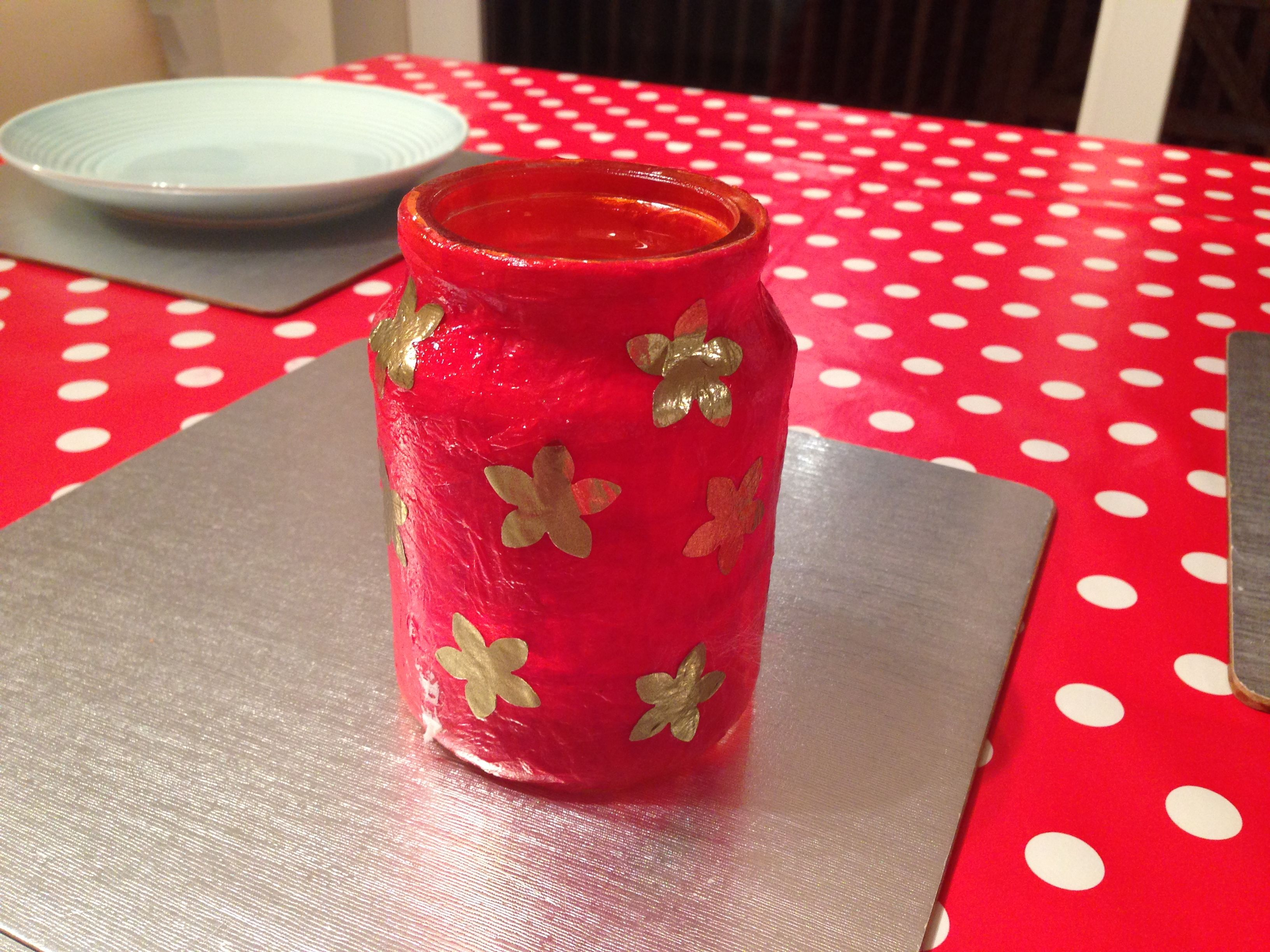 Chinese New Year candle holder Decorated using tissue paper strips