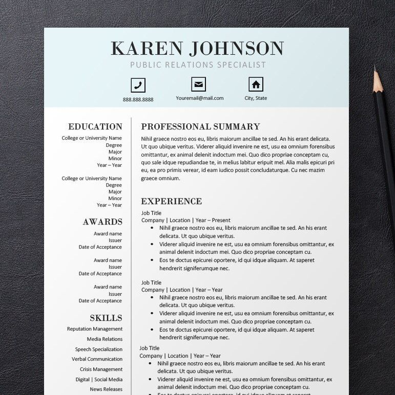 Professional Simple Pale Blue Modern Resume, Cover Letter