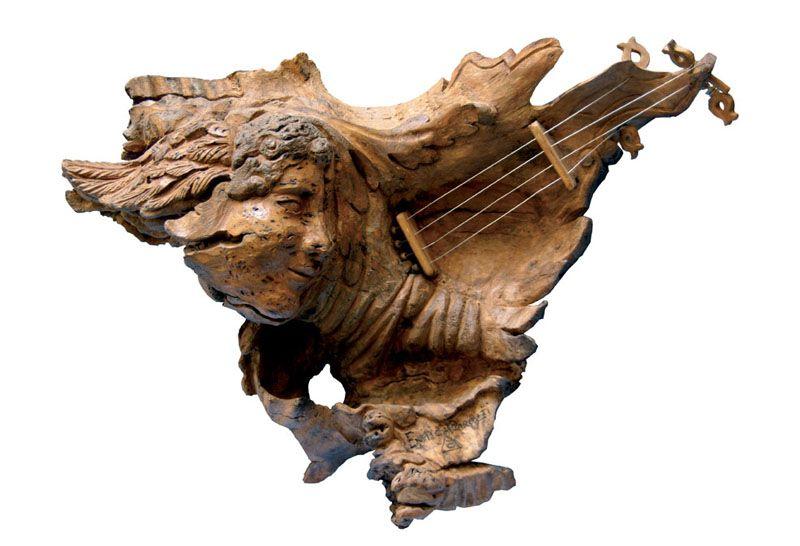God Mercurio - wood sculpture - Enrica Barozzi's Art