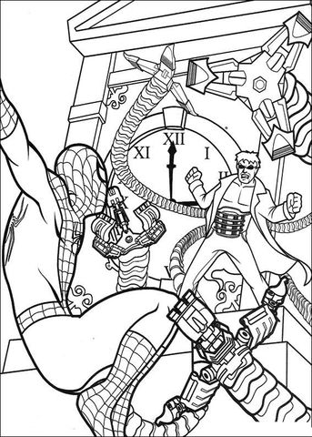 Spider Man Is Fighting With Doctor Octopus Coloring Page Spiderman Coloring Octopus Coloring Page Cool Coloring Pages