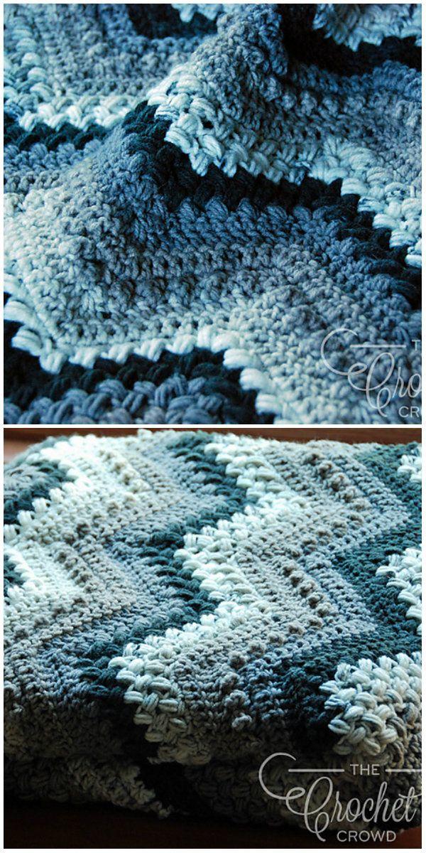 Bobbles Chevron Afghan Blanket Free Crochet Pattern   Blankets Free ...