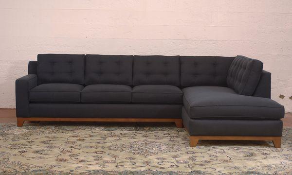 Alemany Custom Made Modern Sofa Sectional Blue Fabric Modern