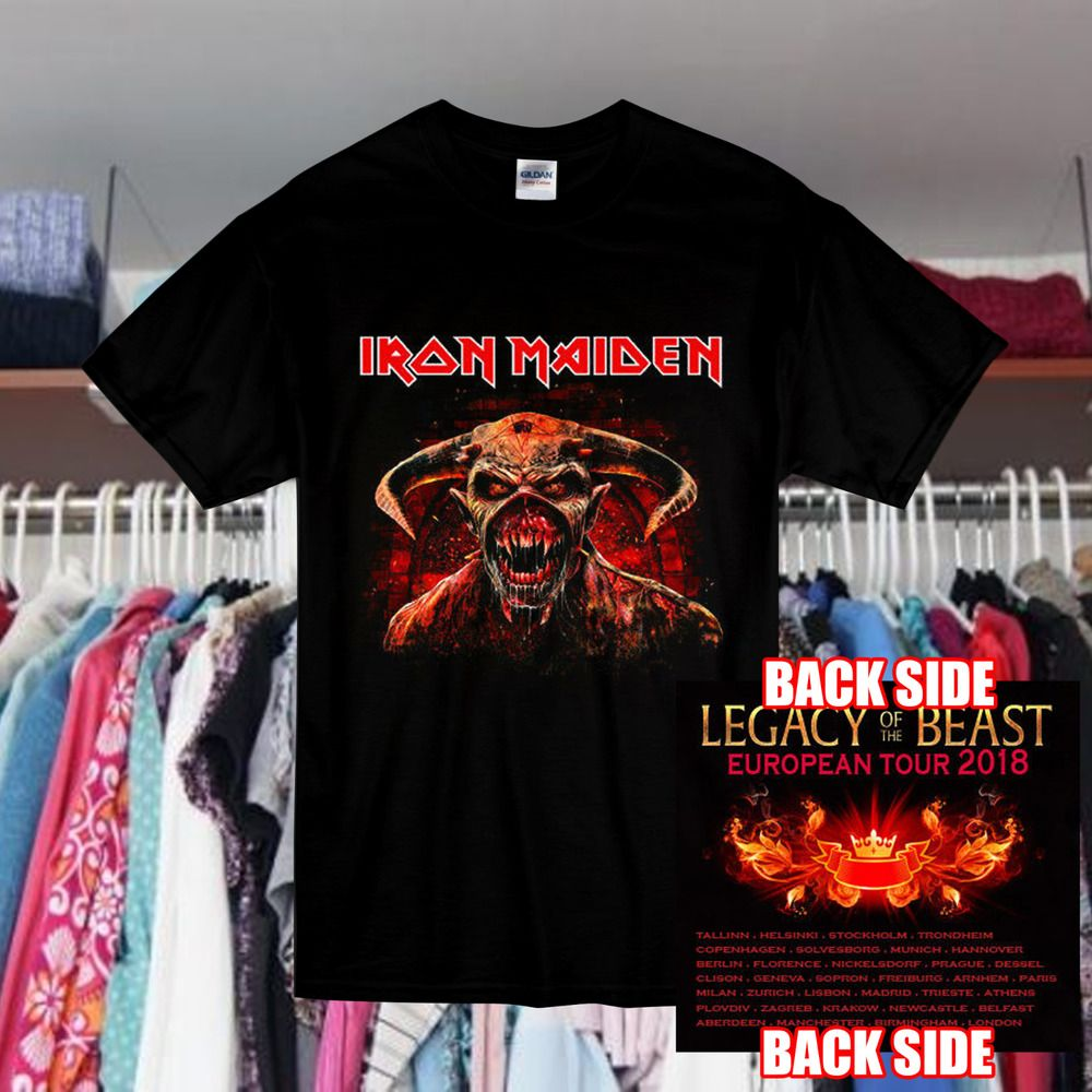 Iron Maiden Legacy Of The Beast European Tour 2018 T Shirt Black Gildan Reprint Fashion Clothing Shoes Accessories Menscl Shirts Black Shirt Tour T Shirts