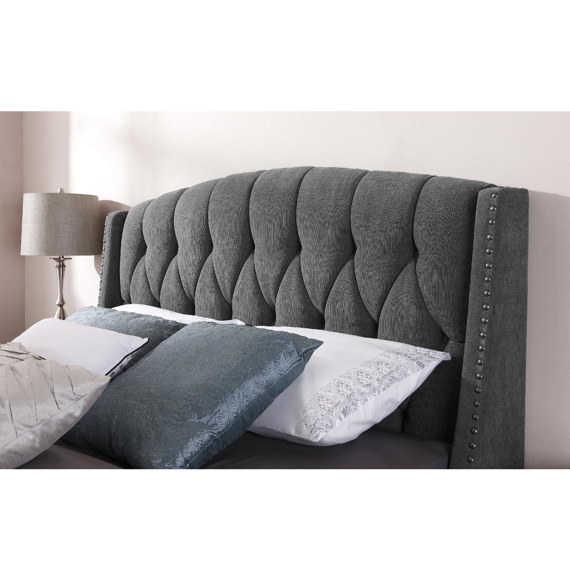 dorel signature sophia steel grey headboard available in full queen and king size buy it. Black Bedroom Furniture Sets. Home Design Ideas