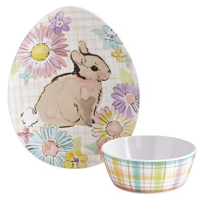 What's more appropriate for springtime dining than hand-painted bunny dinnerware? Made of shatter-resistant melamine, our plates and bowls are perfect for family-friendly gatherings.