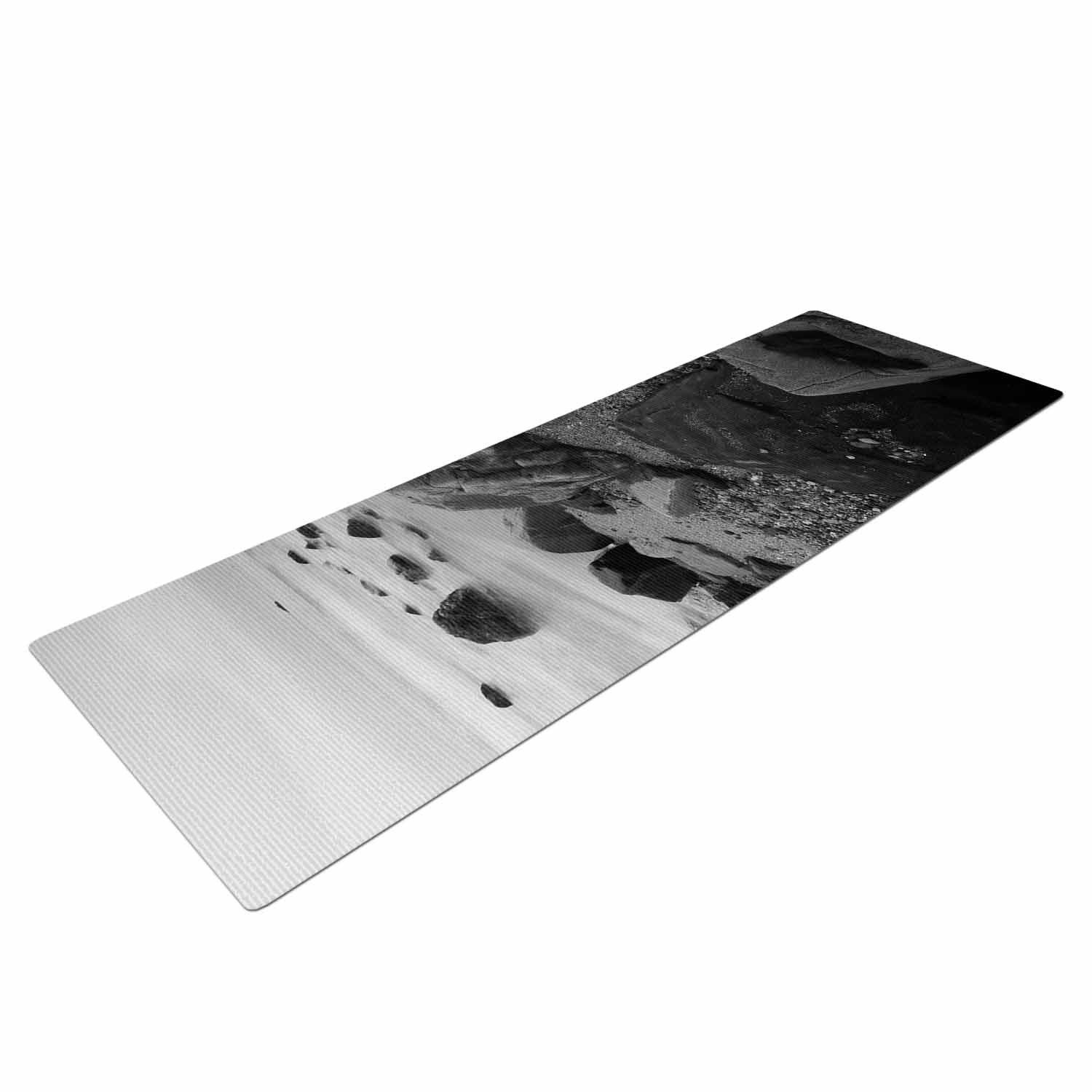 Nick Nareshni Water Moving Around Rocks Gray Black White Yoga Mat Mat Exercises Yoga Mats Best Print Yoga Mat
