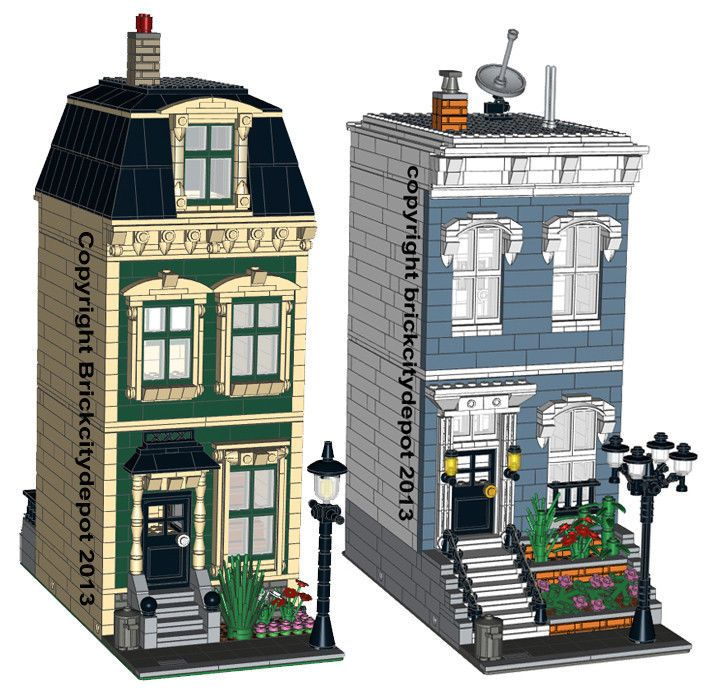 2 lego custom modular buildings city residential pack 4