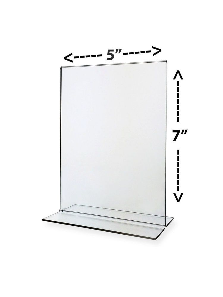 Bottom Loading 5 X 7 Clear Acrylic Sign Frames For Counter Top
