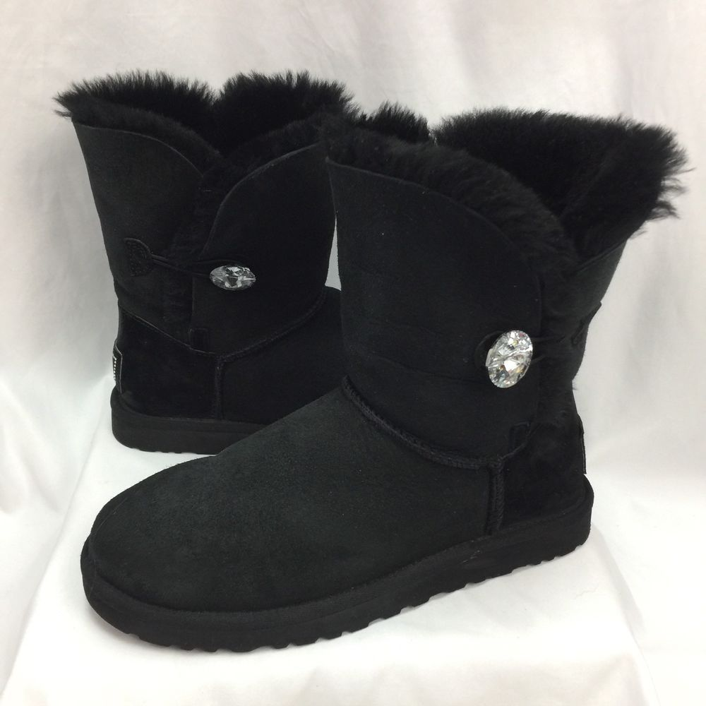 6699f5c82eb UGG Australia Womens Mini Bailey Button Bling Boot - Black US Size 8 ...