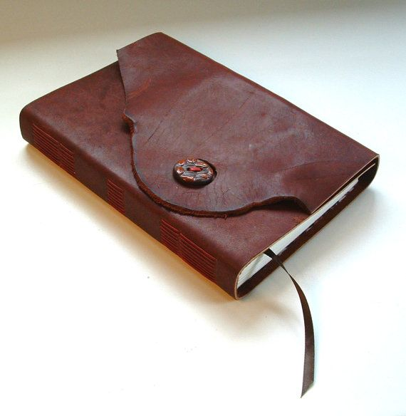 Leather blank book hand-made with original by JonathanDayBookArt