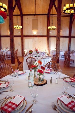 picnic table setting & picnic table setting | Red and blue wedding ideas | Pinterest ...