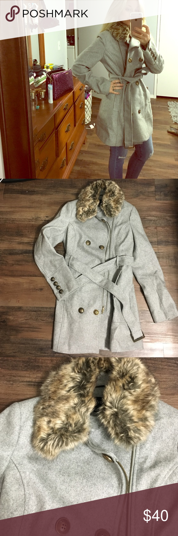 Heavy stylish winter coat I love this jacket the color of it is gray. Furry collar is removable has only been worn a handful of times there is no sign of any where the jacket is fully lined feel free to ask any questions.size says xs but can fit a small easily Black Rivet Jackets & Coats Pea Coats