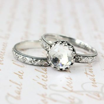 wedding ring set sterling silver 8 mm rose cut swarovski crystal vintage style - Rustic Wedding Rings