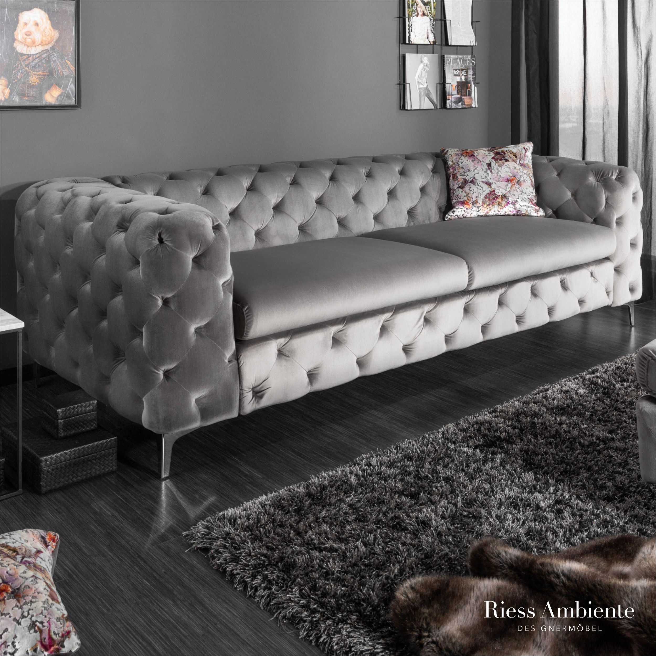 Chesterfield 3er Samt Sofa Grau Riess Ambiente De Chesterfield Wohnzimmer Samt Sofa Wohnzimmer Sofa