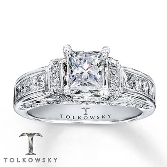 kay jewelers diamond engagement ring 1 38 ct tw princess cut 14k white - Wedding Rings Kay Jewelers