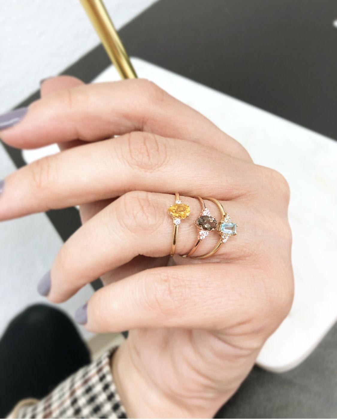 Anillo Oro 18kts Con Piedras Semipreciosas Y Diamantes Anillos De Oro Diamantes Anillo