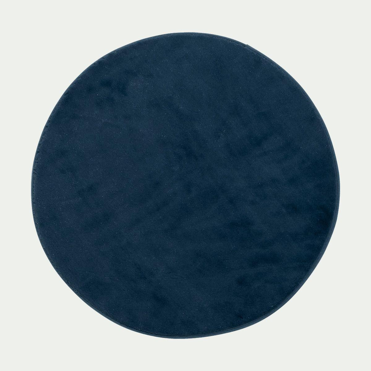 tapis rond imitation fourrure bleu