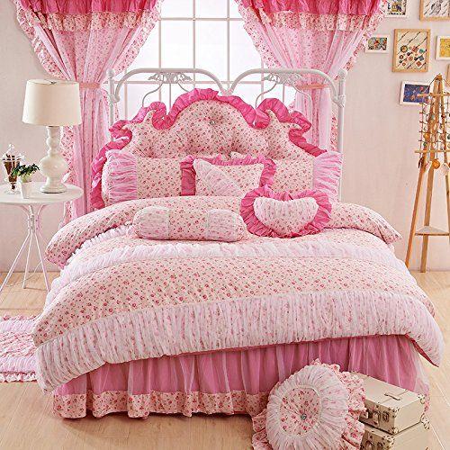 fadfay home textil romantic rose pink design spitze und bettw sche korean mit r schen f r. Black Bedroom Furniture Sets. Home Design Ideas