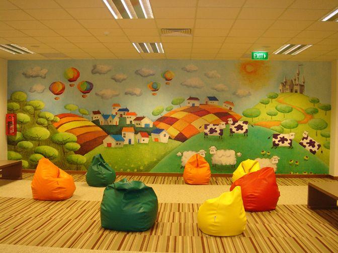 Elementary library mural bing images school mural for Elementary school mural ideas