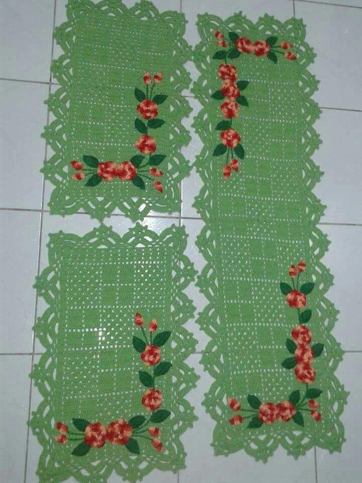 Jogo De Cozinha Croche Barbante Verde Com Flores