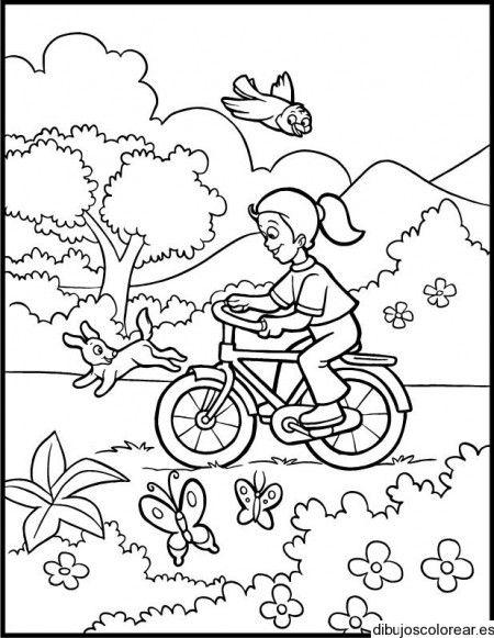 Dibujo De Nina En Bicicleta En El Parque Dibujos Para Ninos Paisaje Para Colorear Paginas Para Colorear Para Ninos