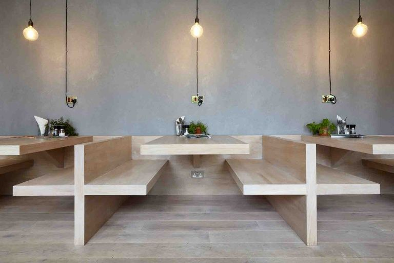 Cafe for the minimalist in you city lighting products for Color design hotel