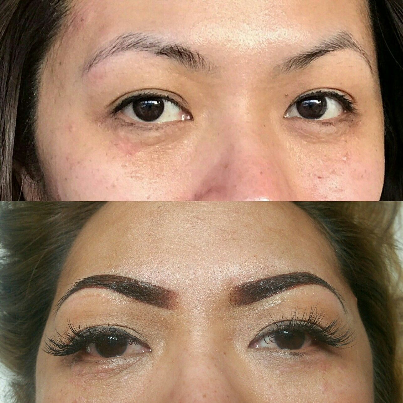 Ombre powdered Brow Permanent makeup - before and after ...