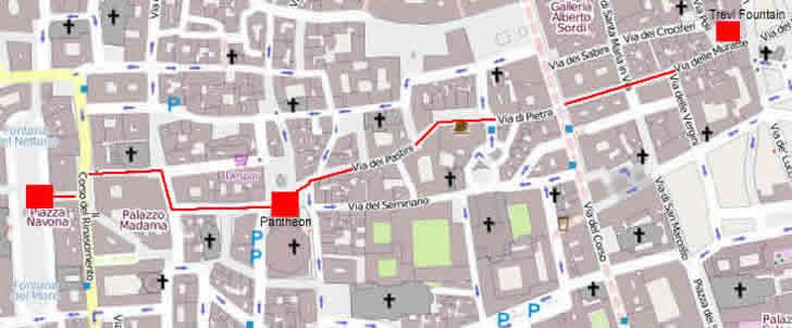 Rome Subway Map To Trevi Fountain Spanish Steps.Map Of Walk Between Trevi Fountain And Piazza Navona Via The