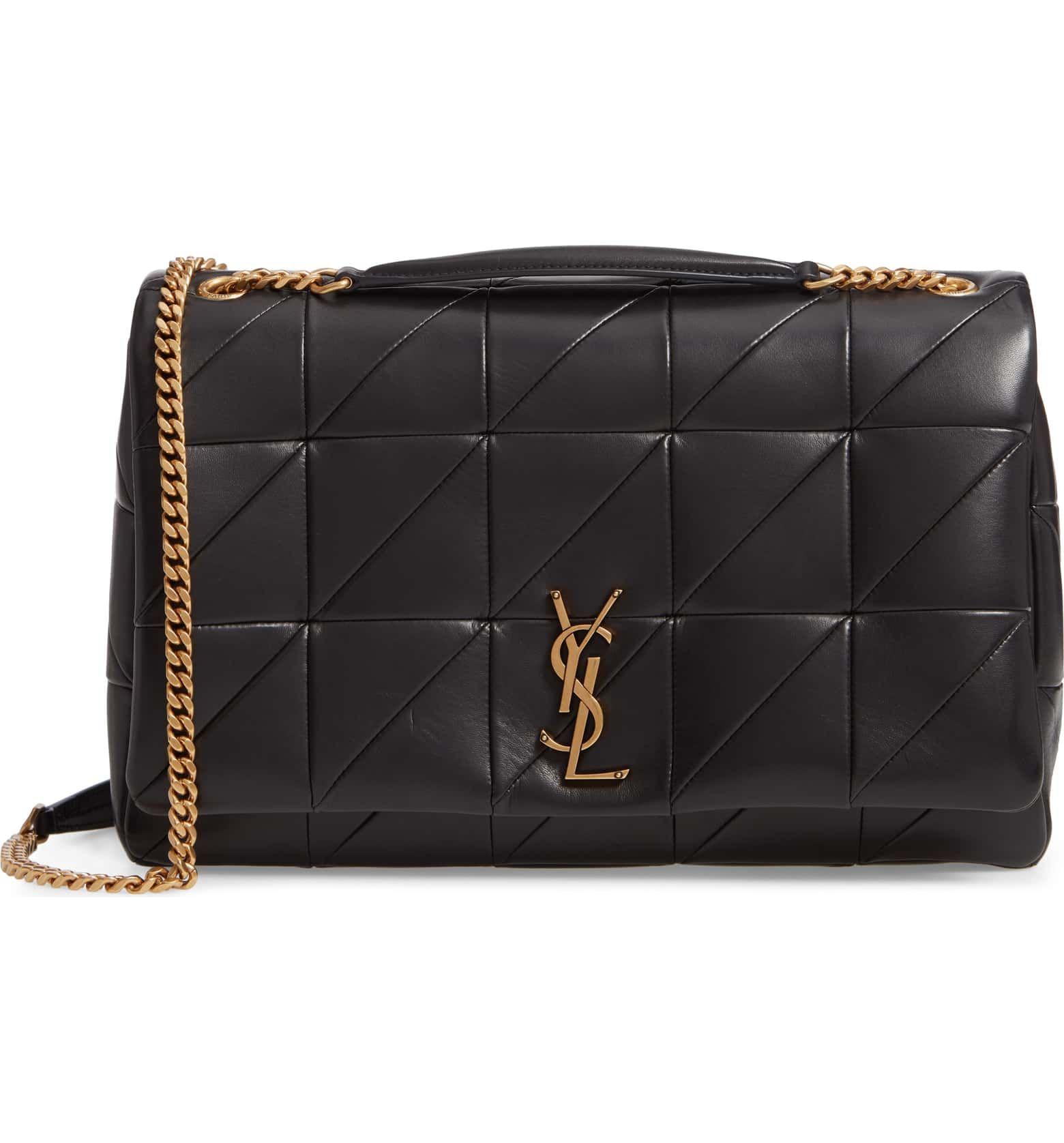 b6a19d37e5b Saint Lauren Large Jamie Patchwork Leather Shoulder Bag, Main, color, NOIR