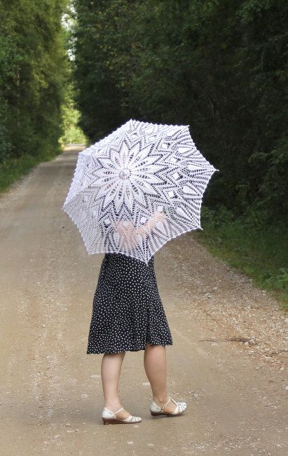 White crochet Lace Umbrella for special day Wedding by TuuliK