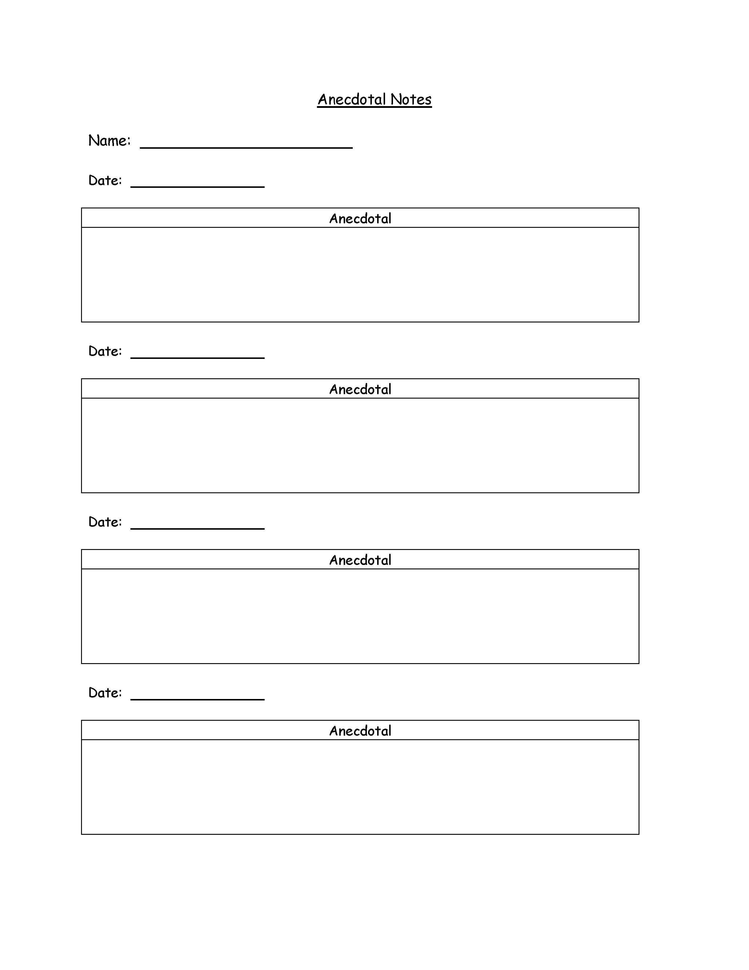 Anecdotal notes template could use for teaching for Anecdotal assessment template