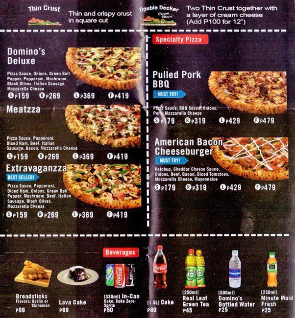 Domino S Pizza Banawe Menu Food Pizza Menu Food
