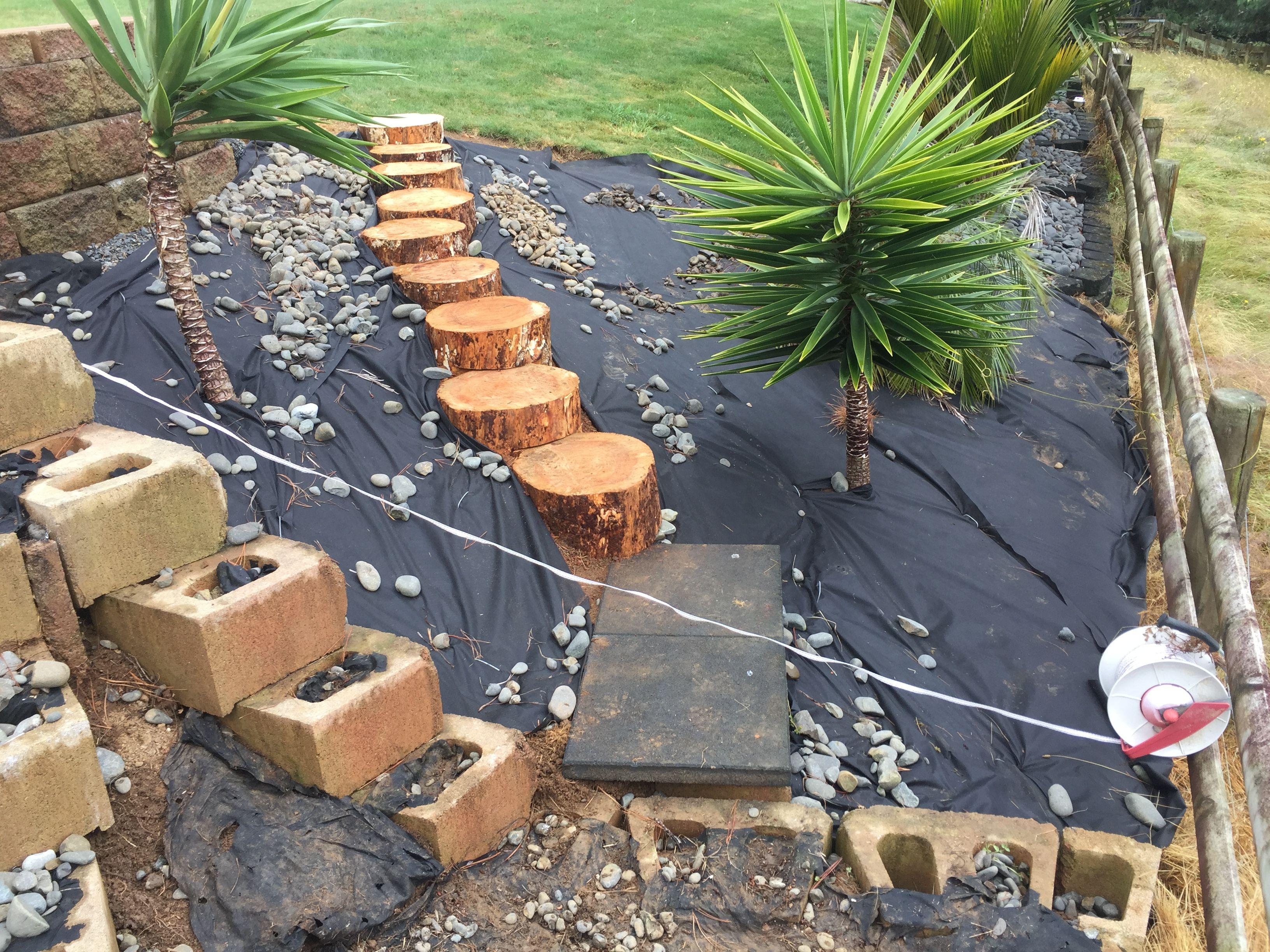 wood log steps up steep slope backyard landscaping pinterest