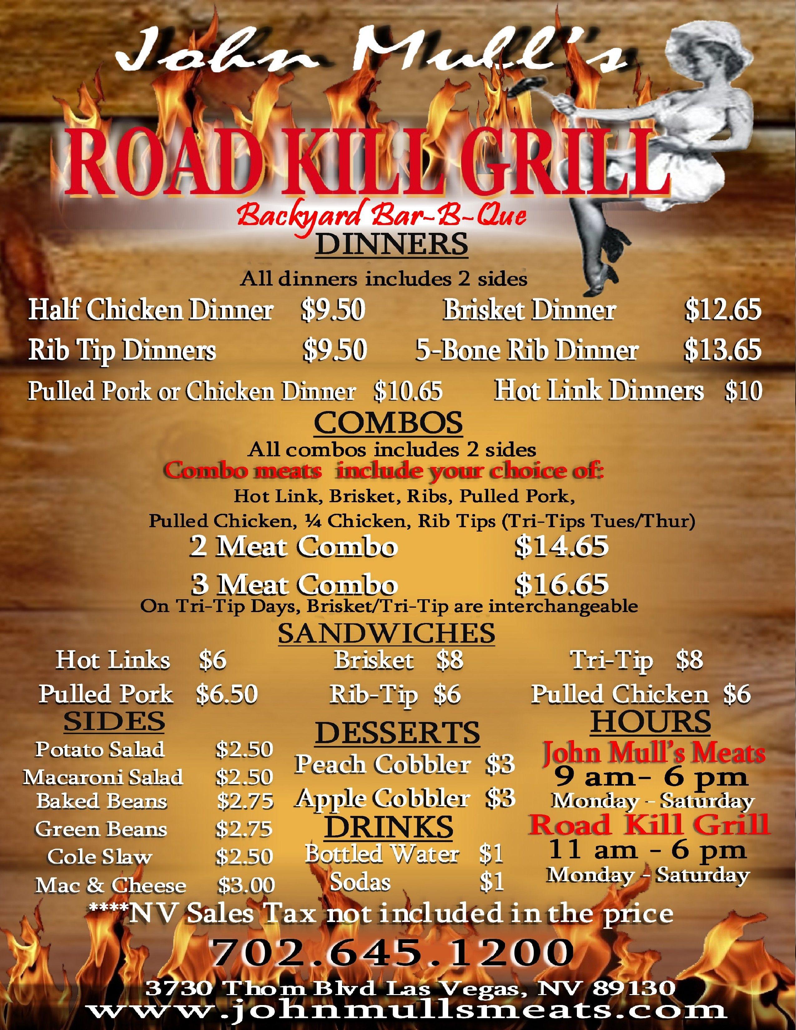 Roadkill Cafe Menu Las Vegas