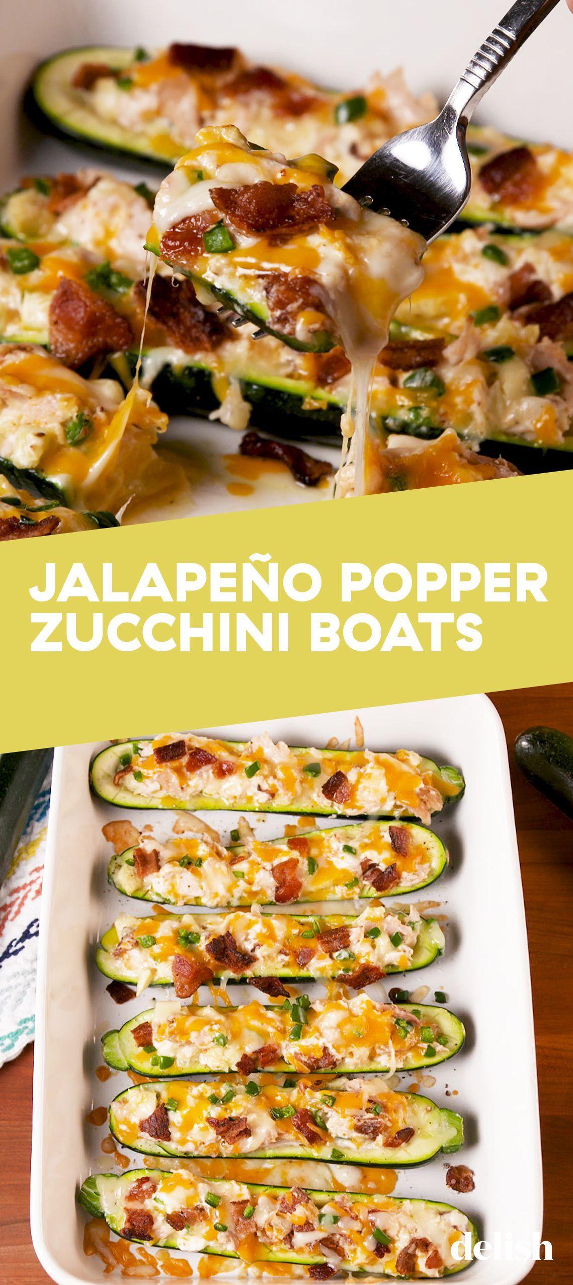 Jalapeño Popper Zucchini Boats #lowcarbrecipes
