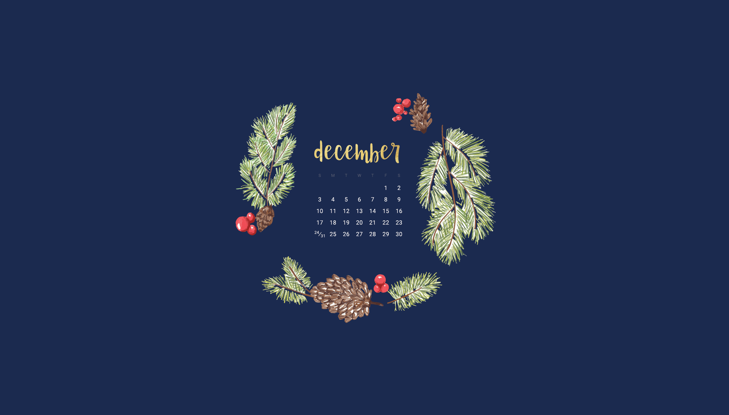 Free December 2017 Desktop And Smart Phone Wallpapers Calendar