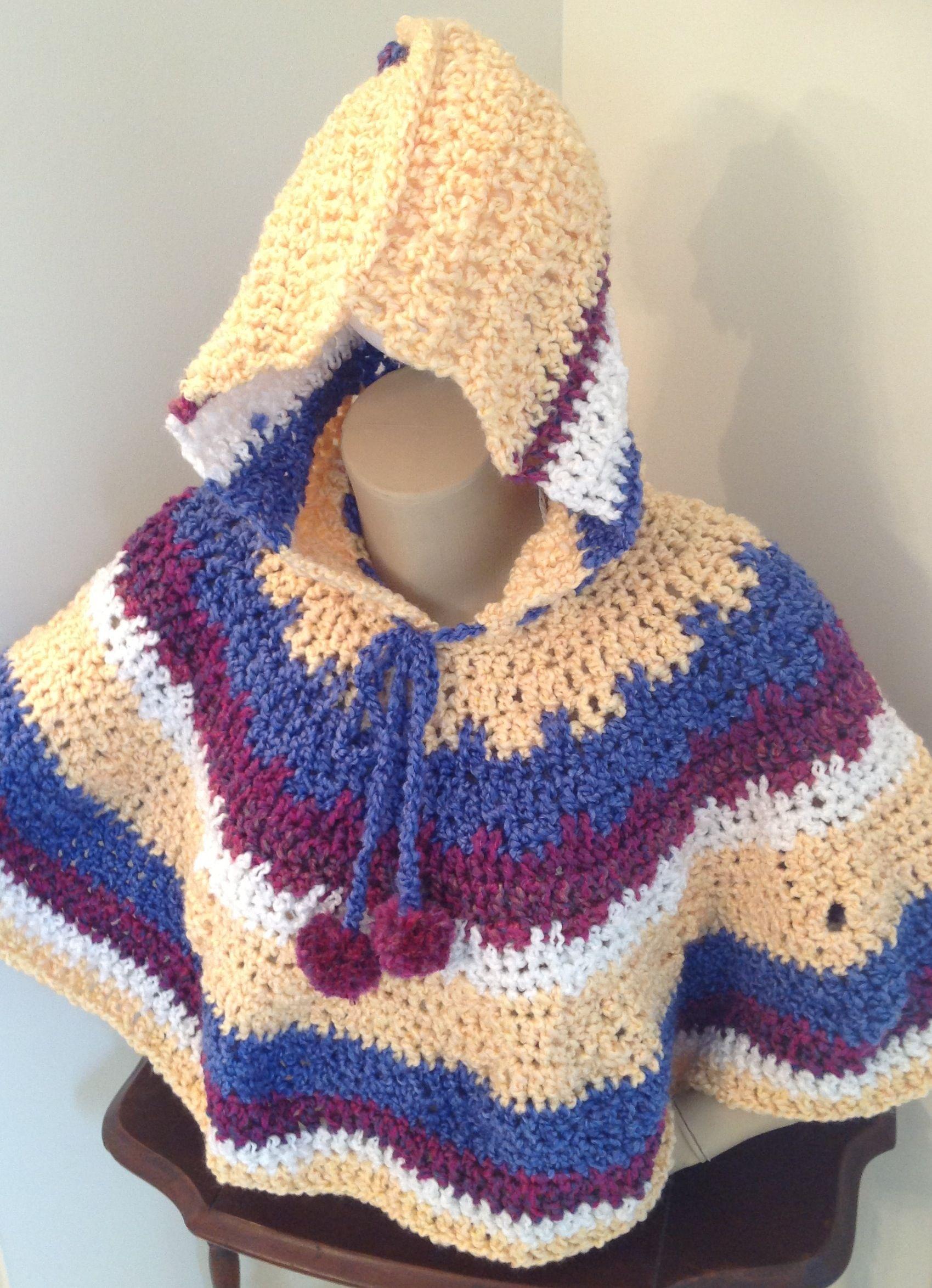 Crochet hooded poncho - child | Crochet wearables I\'ve created ...