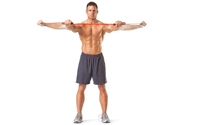Image result for chest exercise resistance band