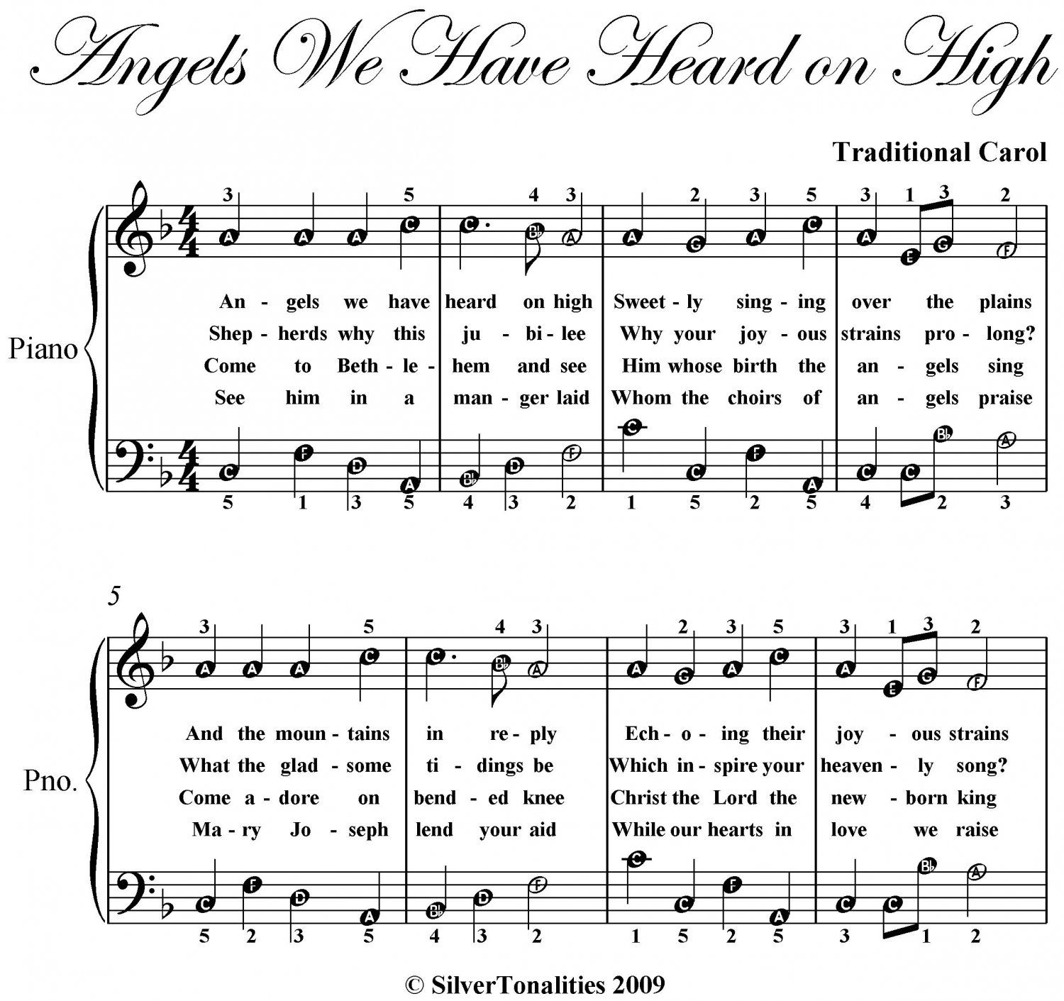 Angels We Have Heard On High Easy Note Piano Sheet Music In F