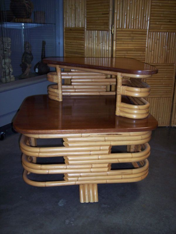 Hawaiian Vintage Style Rattan Corner Table $330