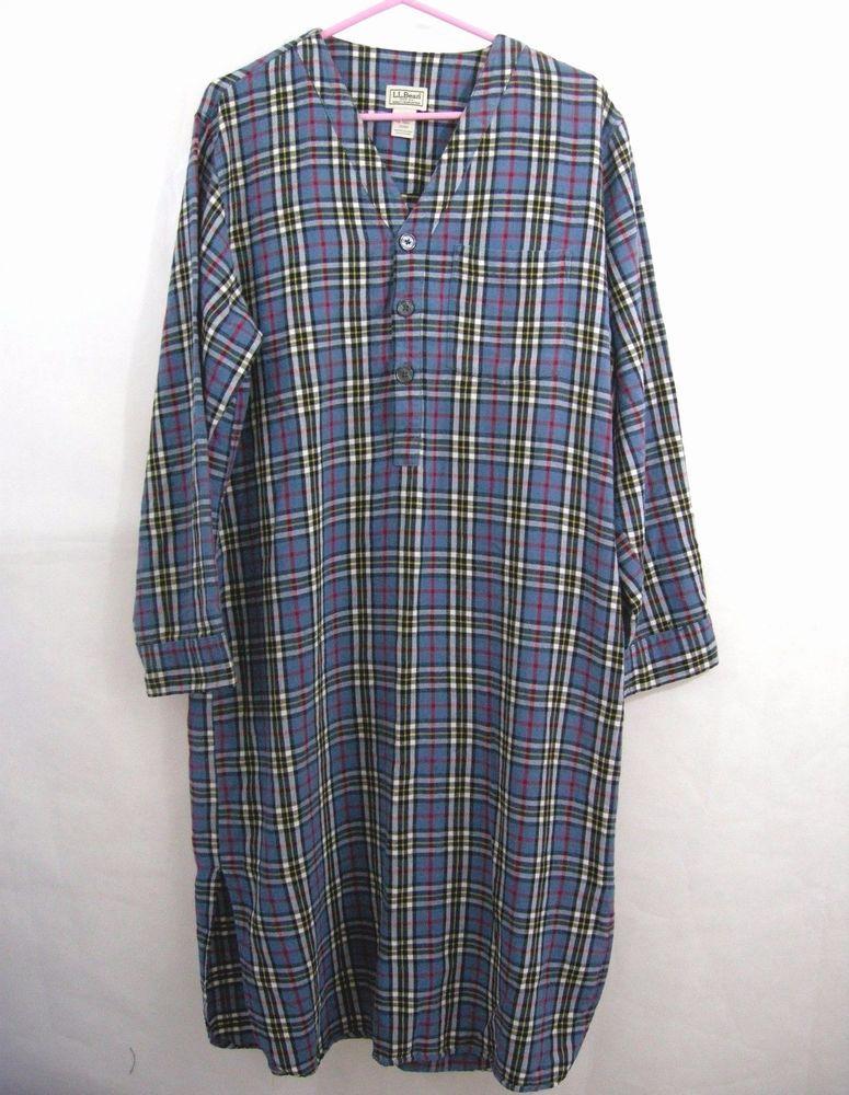 e2132b97c7 LL Bean Flannel Night Shirt Men Nightgown Sleep Plaid Blue Tartan Medium  Cotton  LLBean  Nightshirt