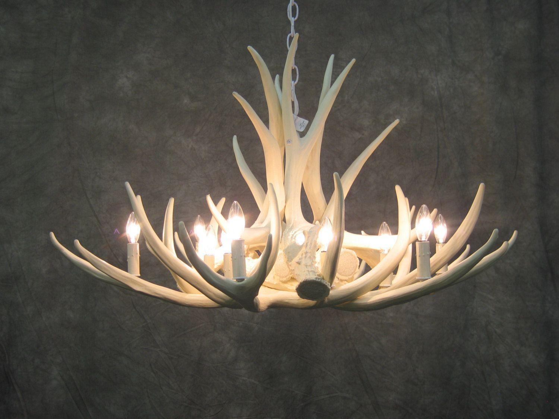 Lamps Natural Deer Antler Chandelier With Light Brown Color For