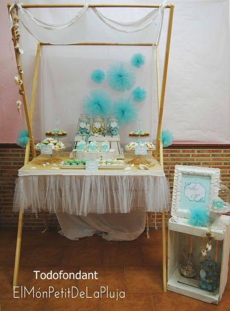 Mesa dulce con temetica marinera en colores aqua blanco y for Mesa dulce marinera
