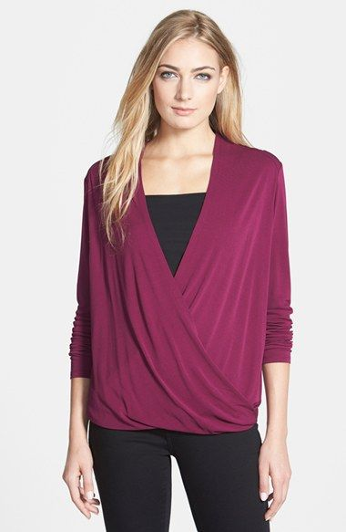 Eileen Fisher Silk Jersey Drape Surplice Top (Regular & Petite) available at #Nordstrom