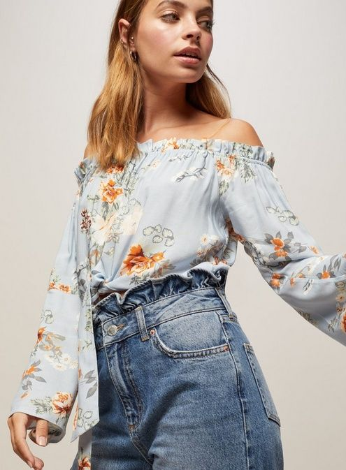 d682d8cd0923c4 PETITE Blue Floral Tie Bardot Top in 2019 | Products | Bardot top ...