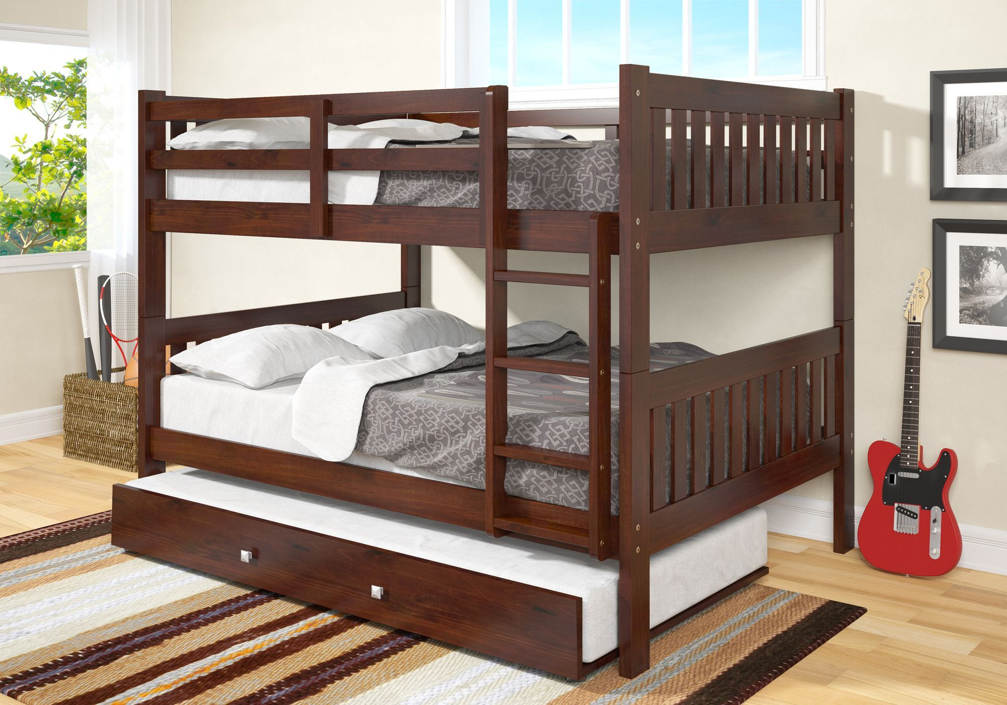 Full Over Full Bunk Bed With Trundle Kid Bedrooms Pinterest