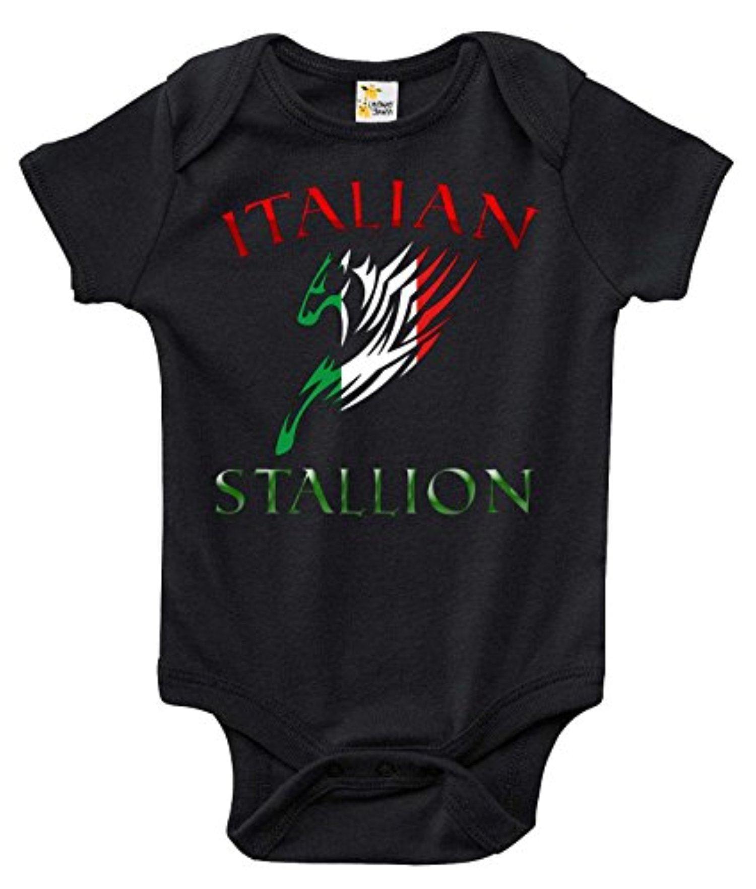 64f4bd17d139 Italian Stallion Funny Cute One-piece Baby Bodysuit Romper for Boys ...